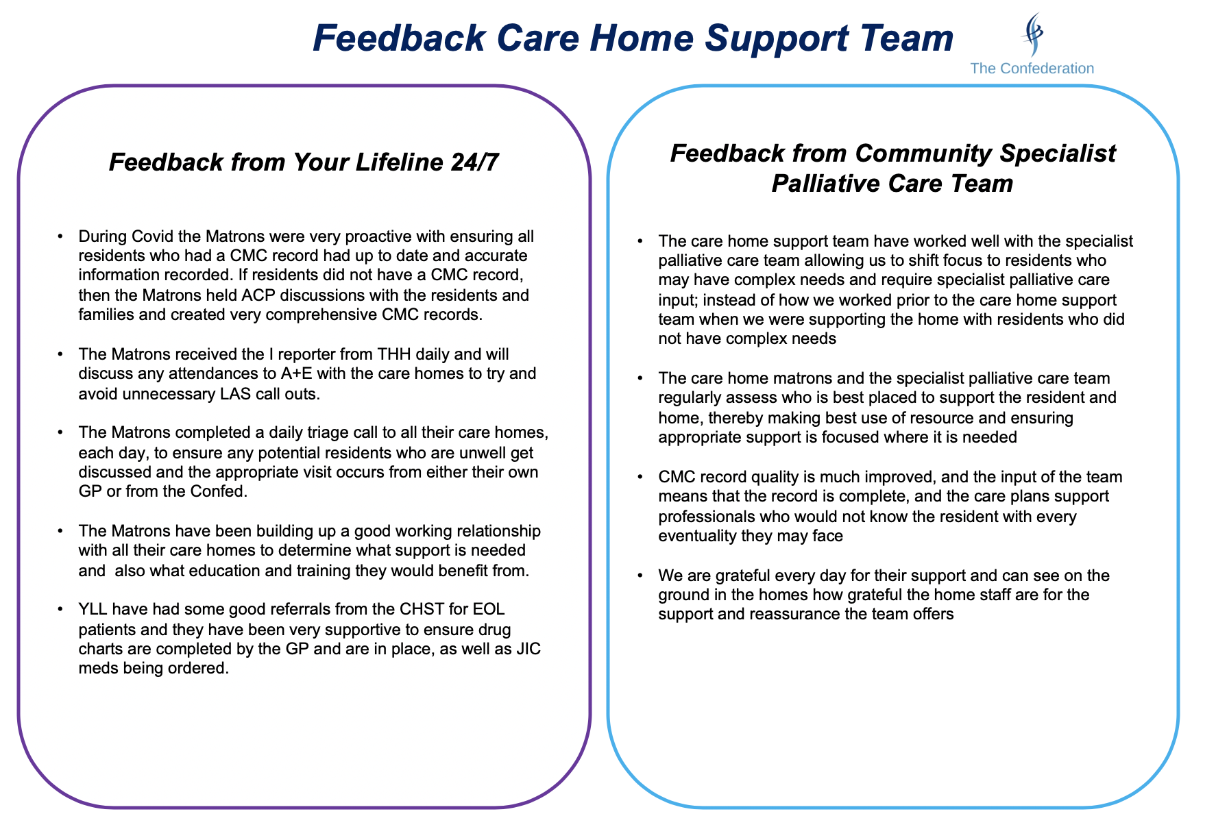 Care Home Support Team Feedback